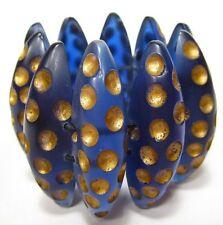 SoHo® Armband vintage retro style 1980er Kunstharz resin blau gold blue stretch