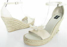 BERTIE SIZE 3 WOMENS BEIGE CREAM STRAPPY ANKLE STRAPS SANDALS SHOES WEDGE HEELS
