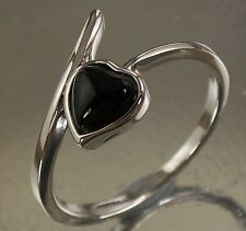 Sterling Silver Ring with a black Onyx Love Heart Design US Size 7 AU N 1/2