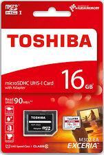 Toshiba Micro SDHC Karte 16GB Speicherkarte Class 10 inkl. SDHC SD Card 90MB/S
