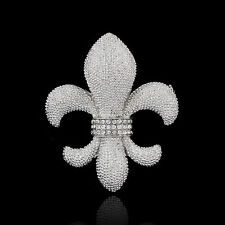 GORGEOUS 18K WHITE GOLD PLATED AND AUSTRIAN CRYSTAL FLEUR-DE-LIS SILVER BROOCH