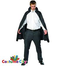 "Adults 45"" Black Taffeta Cape Halloween Fancy Dress Party Costume Accessory"