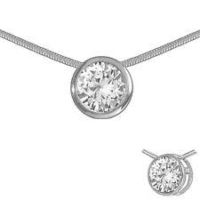 Solitär Collier Anhänger und Kette 925 Silber Zirkonia 7mm Halskette Silberkette