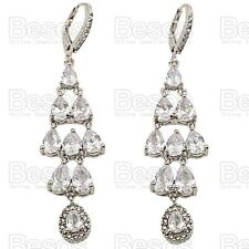 """3""""long CUBIC ZIRCONIA EARRINGS crystal WHITE GOLD SILVER TONE LEVER BACK UK GIFT"""