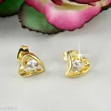 E10 18K Gold Filled Solitaire Diamante CZ Crystal Heart Stud Earrings  Giftboxed