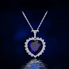 Fashion Women's Charm Blue Crystal Rhinestone Pendant Chain Necklace Jewelry Hot