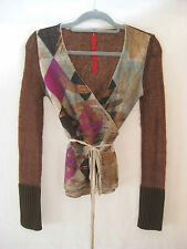 GAZEBO Cinnamon Winter Knit with Harlequin Check Print Wrap Top Size small (8)