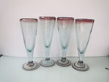 SET OF 4 HAND BLOWN MEXICAN RECYCLED GLASS, CHAMPAGNE FLUTES, ITEM #00FL6