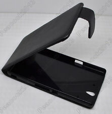 Black Leather Cover Pouch Flip Case For Sony Xperia Z L36h
