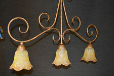 VINTAGE ART NOUVEAU STYLE 3 LIGHT FITTING BROWN AMBER/GOLD GLASS