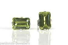 9ct White Gold Peridot Stud earrings Gift Boxed Made in UK
