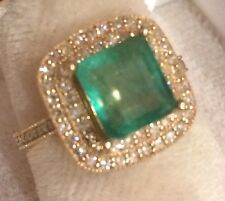 Estate 1.94CT  NATURAL EMERALD & DIAMONDS  14K Solid Yellow Gold Ring SZ 6.5