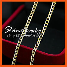 24K YELLOW GOLD FILLED CURB RING CHAIN for pendant LADY SOLID NECKLACE 45CM 50CM