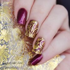 1 Sheet Gold Embossed Flower Manicure 3D Nail Art Stickers Decals #BP052
