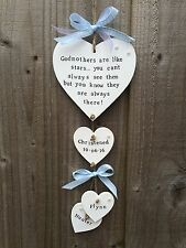 Handmade Personalised Plaque Sign Godmother Godparent Christening Present Gift
