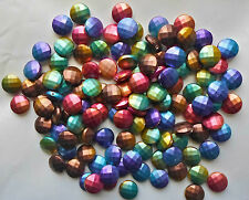 30 x Multicolour Acrylic Beads Rubberized Style Faceted Flat Round Disc 16mm A9