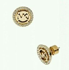 Crystal pave gold-plated gold printing trademark tone stud earrings