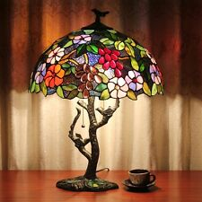 """Vintage Tiffany Table Light w/ 16"""" Stained Glass Lamp Shade Bar Coffee"""