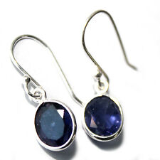 GENUINE NATURAL IOLITE WATER SAPPHIRE 4.4CT 925 SOLID STERLING SILVER EARRINGS