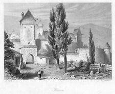 Füssen, Allgäu, Original-Stahlstich von ca. 1850