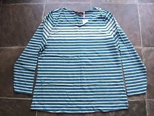 BNWT Ladies Blue Striped Long Sleeve Cotton Knit Top Size 18