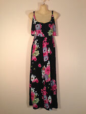 Women's One Size Black Maxi Dress with Pink & White Flowers