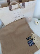 BNWT All Saints 100% Wool Beige Camel Valley Scarf  - Made in England