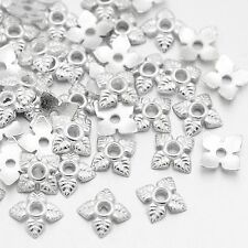 100 x 6mm  Silver Plated Flower Bead Caps
