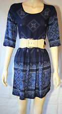 """ Sunny Girl ""   Navy Print  Dress       SIZE 10   BRAND NEW"