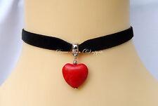 Black Velvet Choker/Necklace Red Howlite Heart Pendant Boho/Kitsch/Retro UK