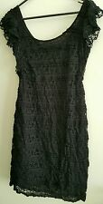 Ladies Black Lace Mini Dress - Size 8