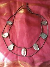Genuine Retro Boho Indi Festival Event Mother Of Pearl Silver Link Necklace