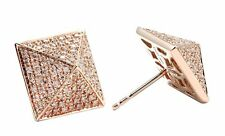 NEW 14K ROSE GOLD PYRAMID PAVE DIAMOND STUD EARRINGS 0.43CT