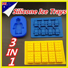 3 In 1 Lego Brick Ice Chocolate Cube Jelly Moulds Tray Minifigure Silicone Molds
