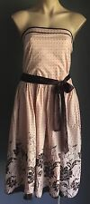 Pre-owned CROSSROADS Blush & Brown Strapless Polka Dot & Floral Dress Size 16