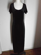 Vintage LAURA ASHLEY Black Stretch Velvet Feel Maxi Dress Size S 10 12