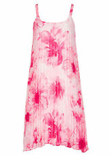Pleated  pink floral lined Flowing summer dinner party dress size 18 NEW