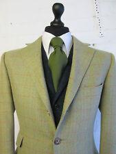 Bladen moss green red herringbone check wool tweed suit blazer jacket 40R