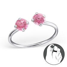925 Sterling Silver Toe Ring Round Pink Double CZ Adjustable Body Jewellery