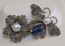 GENUINE! 4.36cts! Sapphire, Marcasite & Pearl Butterfly Brooch Solid Silver 925.