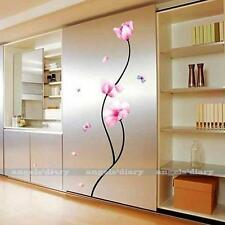 Pink Peony Flower Vinyl Wall Stickers Wallpaper for Home Room DIY Decals Decor