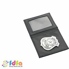 SILVER POLICE BADGE IN WALLET - cops and robbers - mens fancy dress accessory