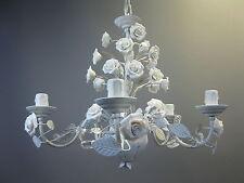 Metall Kronleuchter Deckenlampe Lüster Florentiner Lampe  mit Porzellan  45 cm