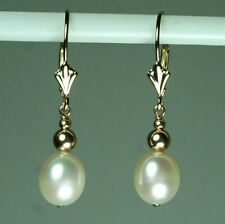 14k solid gold 9x7mm natural teardrop freshwater white pearl earrings leverback