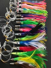 15x Big Game Fishing Skirted Trolling Lures Rigged Line Hooks Bag Marlin Tuna