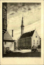 Tallinn Estland s/w Postkarte ~1930 Vana raekoda Altes Rathaus Auto Oldtimmer