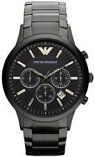 NEW EMPORIO ARMANI AR2453 MENS BLACK CHRONOGRAPH WATCH - 2 YEAR WARRANTY