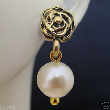 Gold Rose flower Real Freshwater White Round Pearl Earrings Australia Seller 153