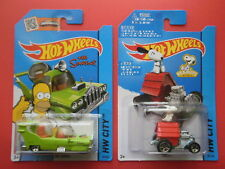 2 x 2015 Hot Wheels The Simpsons THE HOMER & Peanuts SNOOPY - Mint on cards!