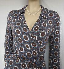 Wickelkleid Jerseykleid BODEN Gr. 36 38 Uk 10L retro Blumen blau braun Punkte